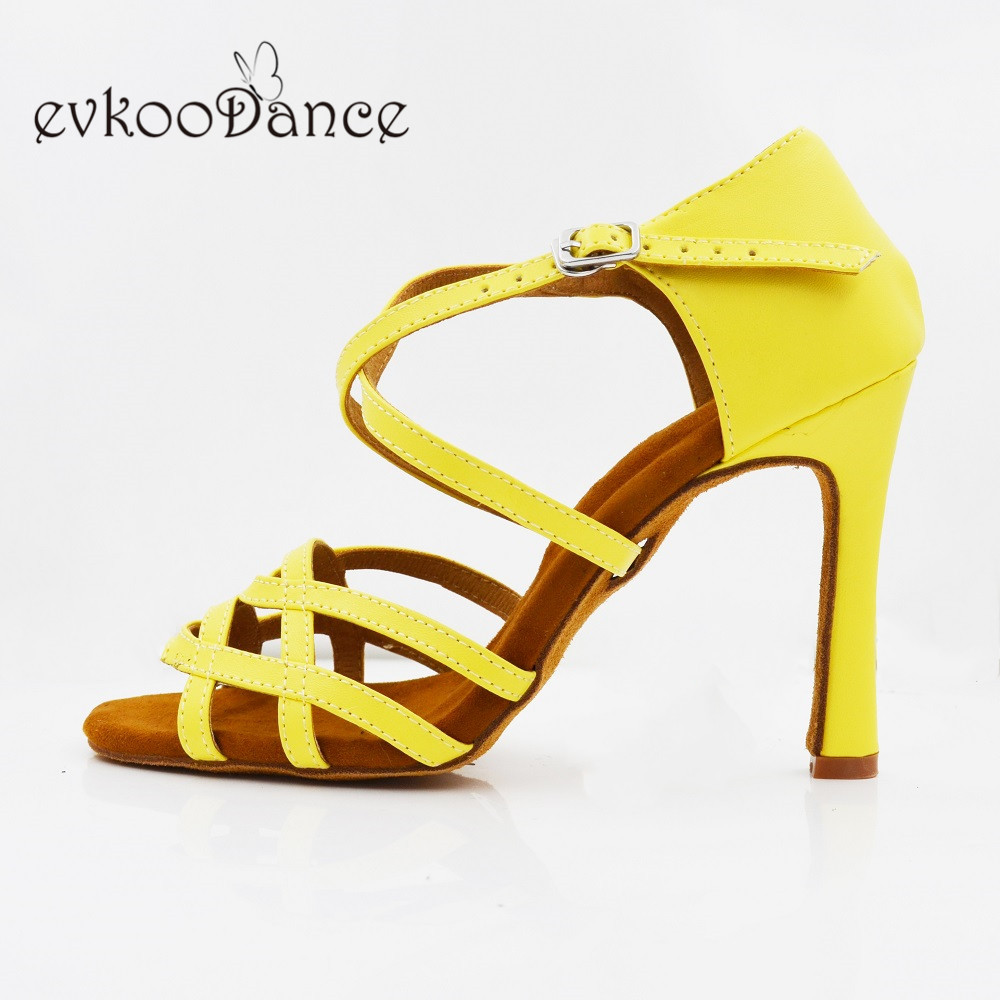 Heel Height 10cm  Latin Dancing Shoes Professional Yellow Pu For Women Size US 4-12 Zapatos De Baile NL275