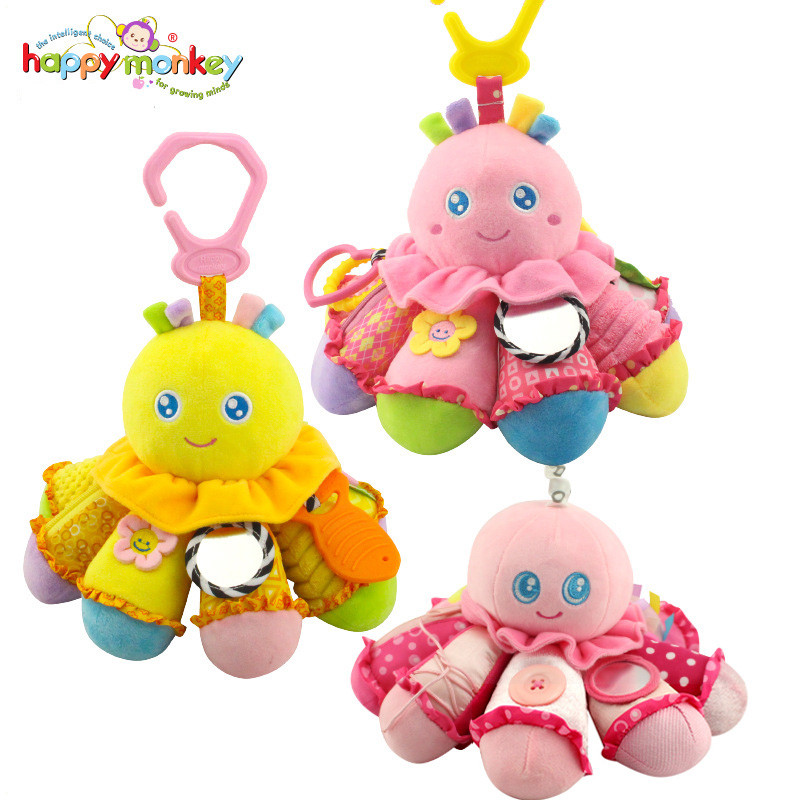 Happy Monkey Cartoon Octopus Infant Baby Rattle Mobiles Bed Bell Crib Stroller Hanging Toy Stuffed Plush Animal Doll Baby Toys