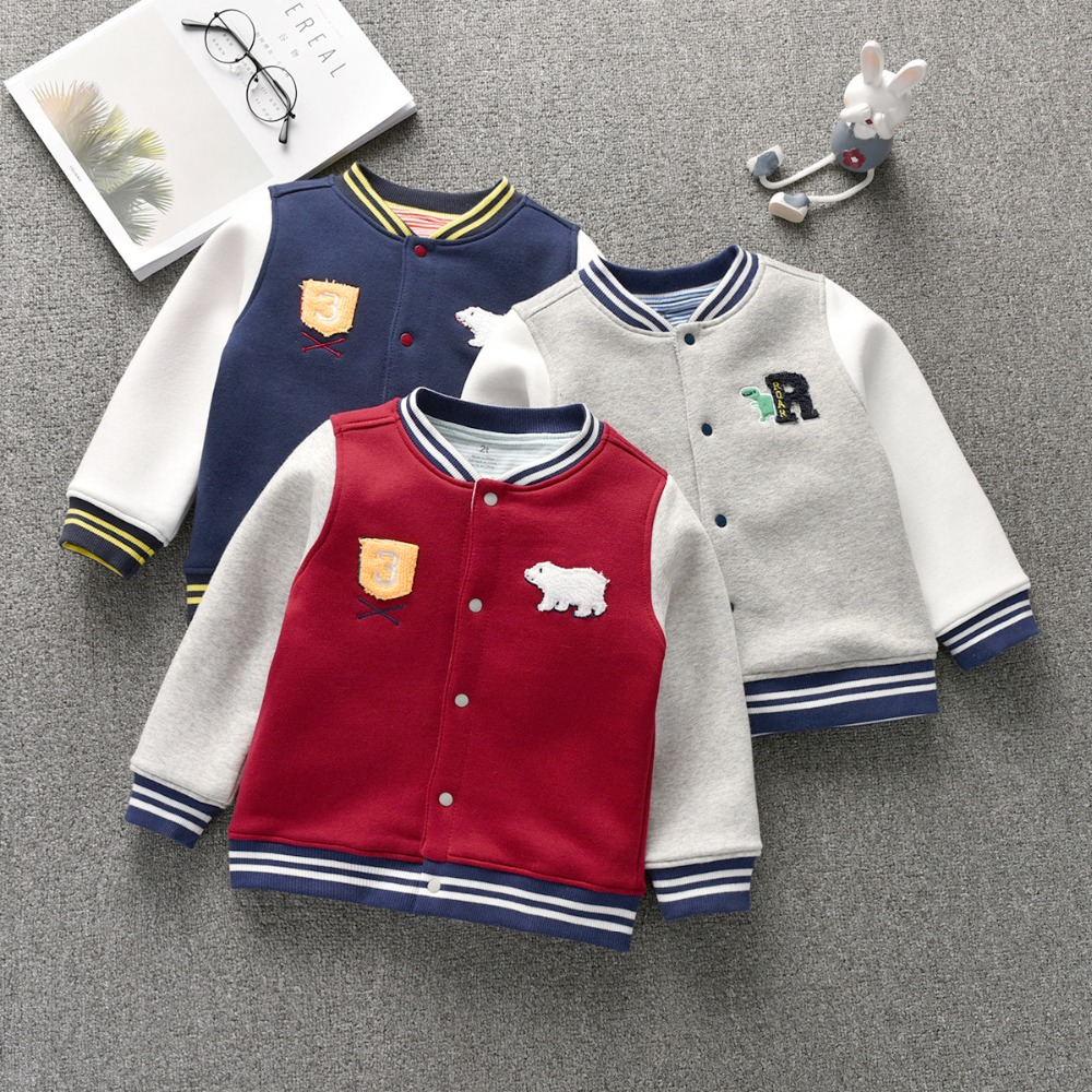 Children Boy Cotton Baseball Uniform Outwear Jacket For 12m To 3t Winter Kid Letter Animal Long Sleeve Coat Buy One Get One Free