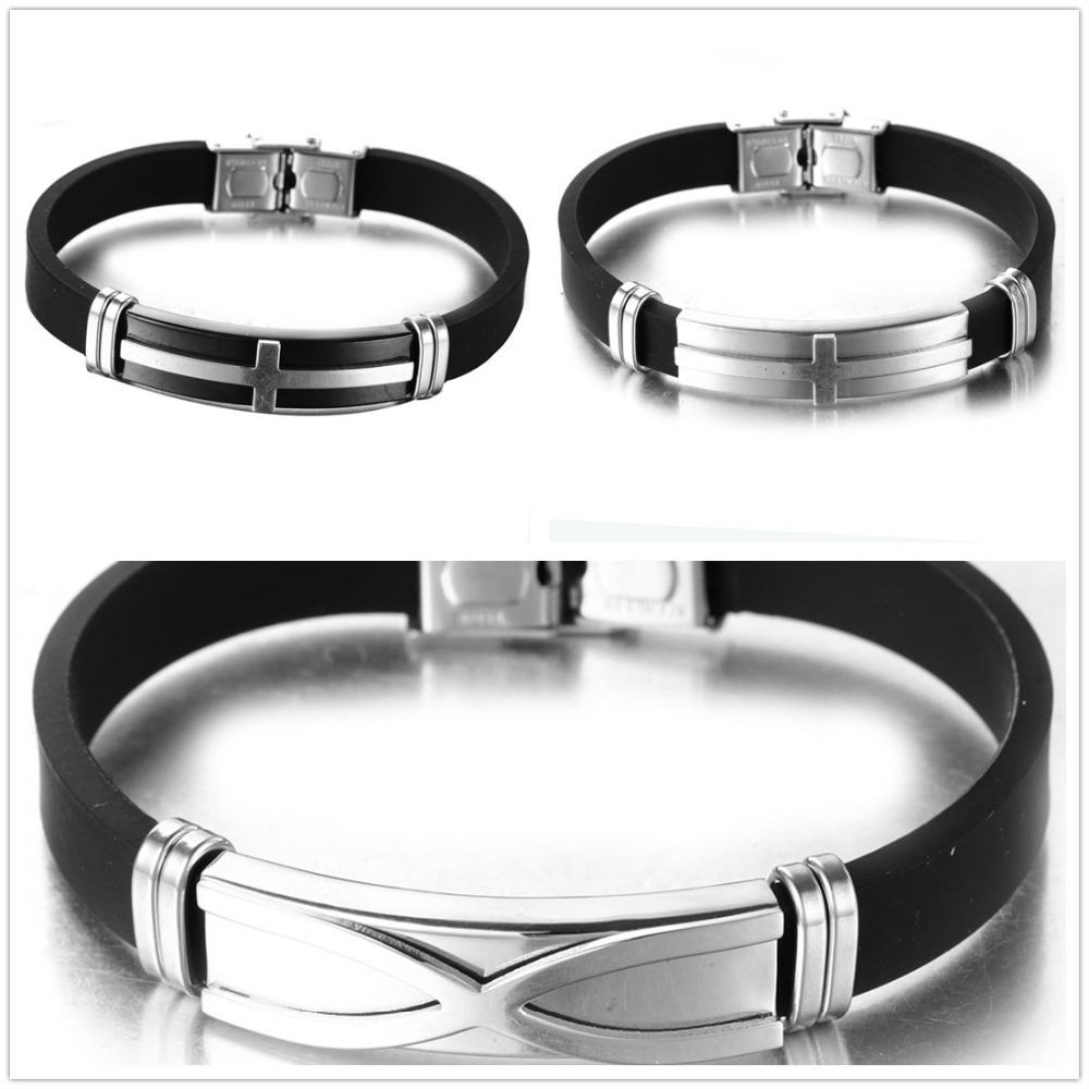Simple New 316L Stainless Steel Silver ID Black Silicone Mens Womens Bracelet Wristband Wholesale Unisex's Jewelry Gift 8″*10mm