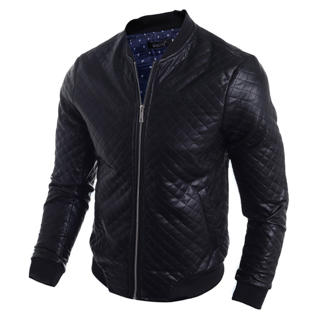 2016 New Fashion Style Men Solid PU Leather Motorcycle Jacket Casual Stand Collar Slim Mens Jackets Army Coats 13M0534
