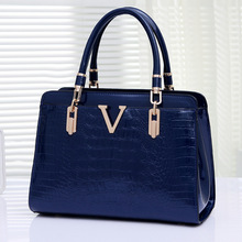 Famous Brands Handbags 2015 Luxury elegant female big bags Crocodile women's  leather handbag cowhide messenger bag