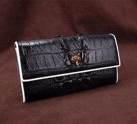 Модные черно белый цвет дизайнер натуральной кожи аллигатора дамы кошелек карман на молнии крокодиловой кожи Для женщин долго карты кошеле
