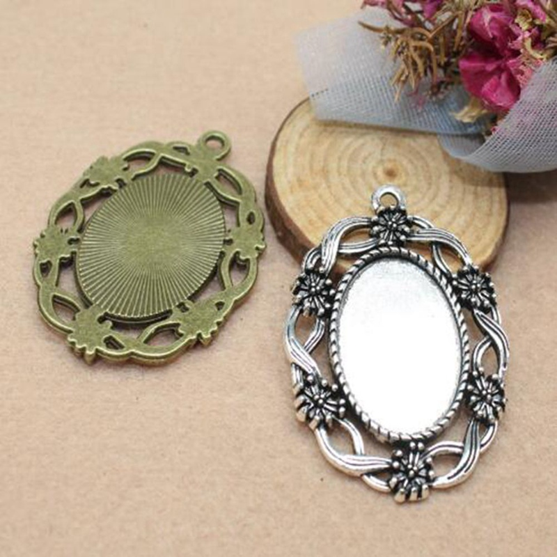"25mm 1/"" Inch ROUND ANTIQUE SILVER Circle Pendant Tray /& DOME GLASS 10 QTY"