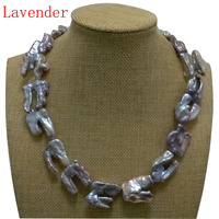 17 inches 20 40mm Natural Lavender Thick Hook Shaped Baroque Biwa Pearl Necklace