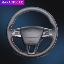 Car Braid On The Steering Wheel Cover for Ford Focus 3 2015-2018 Kuga 2016-2019 Escape C-MAX Ecosport 2018-2019 Auto Wheel Cover steering wheel cover for ford mondeo mk4 2007 2012 s max 2008 ford focus 3 2015 2018 kuga 2016 2018 custom made steering braid
