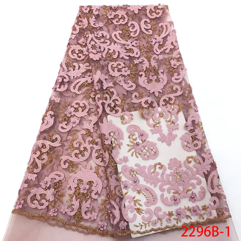 Hot Sale French Lace  Fabric High Quality Beautiful African Lace Fabrics For Nigerian Wedding Dress And Beads XZ2296B-1Hot Sale French Lace  Fabric High Quality Beautiful African Lace Fabrics For Nigerian Wedding Dress And Beads XZ2296B-1