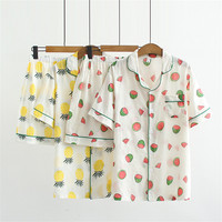 Women Summer Sleep Sets Watermelon Pineapple Print Sleep Coat and Pants Sleepwear Nightgown Suit PS012