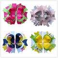 1.99 USD/PC 2016 5 Polegadas de Cristal de Luxo Rosa Quente Boutique Meninas Empilhados arcos Com 6 cm Grampos de Cabelo Arcos Para Cabelo Das Meninas acessórios