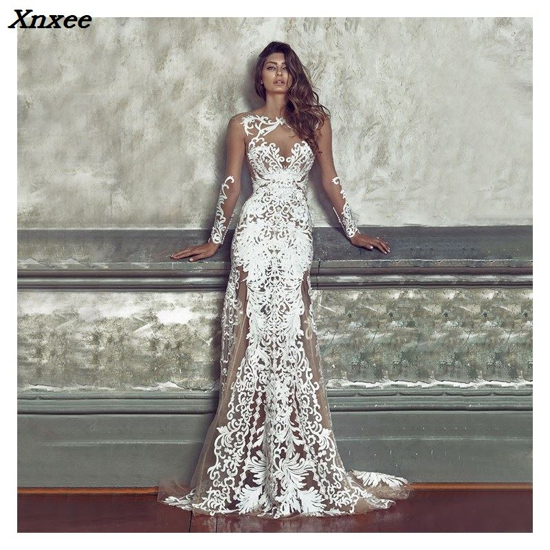 2018 Women Sexy O Neck Lace Dresses Elegant Hollow Out Party Dresses Full Fashion Long Sleeve