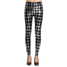 Color Plaid PU Leather Leggings For Women Printing Stretchy Shiny Slim Push Up Long Pants Ladies Sexy Skinny Fitness Trousers