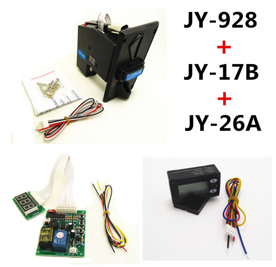 928+17B+26A coin operated time control device for cafe kiosk, multi coin selector with timer board and reset counter