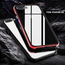 R-просто новое поступление металлический бампер и задняя крышка из закаленного стекла для iPhone 7 8 Plus X гладкие и жесткие чехлы полупокрытие Funda