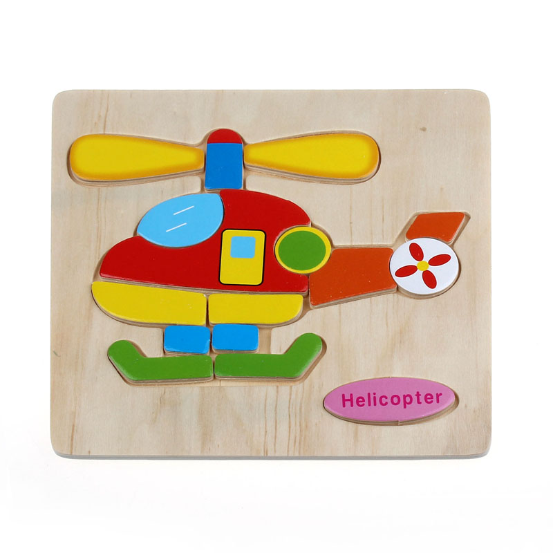 CHAMSGENG Wooden Helicopter Puzzle Educational Developmental Baby Kids Training Toy 5.4