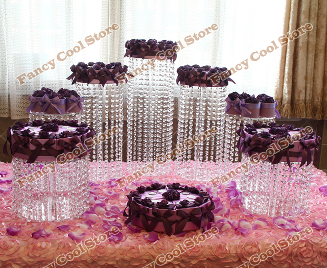 7pcsset Wedding Crystal Transparent Acrylic Cake Stand Wedding