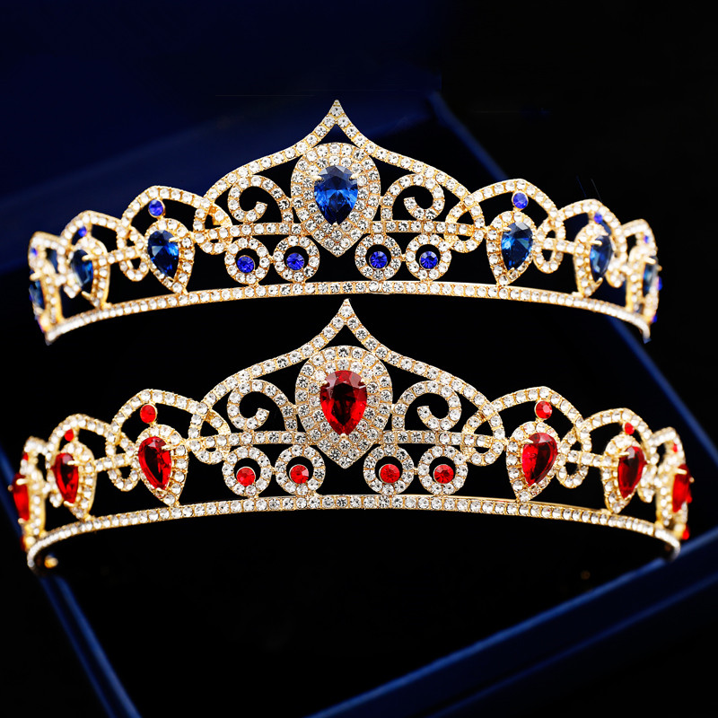 Queen Quinceanera Wedding Tiaras Women Hair Jewelry Gold Crowns 2018 Red Blue Rhinestone ...