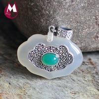 Women Jade Pendants 100% 925 Sterling Silver Necklace Women Fine Chalcedony Gemstone Necklaces Pendants Silver 925 Jewelry SP20