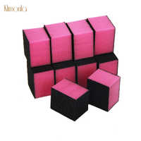 100pcs Rosa Cor Nail Art Form Arquivos 80/80/100 Grits Moagem De Polimento Ferramentas Dicas Removedor de Cutícula mini Blocos de Lixa de Unhas