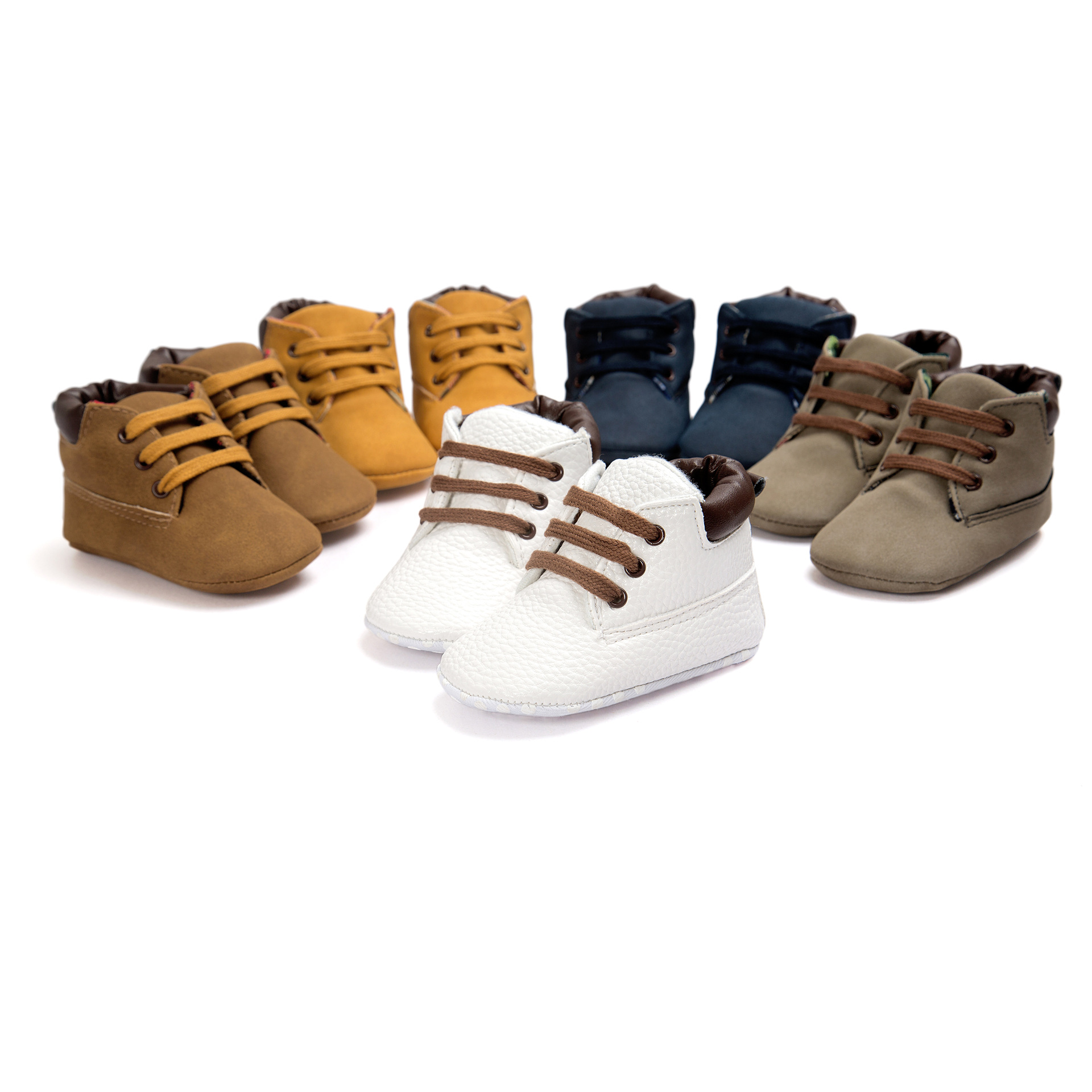2019 Fashion Newborn Bebe Martin Boots Infant Baby Shoes First Walkers Baby Moccasins PU Leather Prewalkers Booties