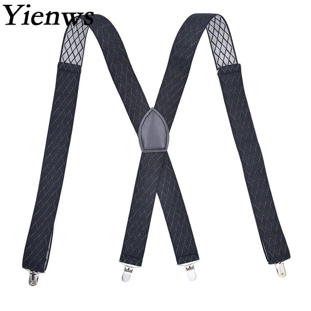 Yienws Jacquard Suspenders For Men Black Elastic Pants Trousers Brace Strap 4 Clip Suspensorio Mens Jartiyer Szelki YiA054
