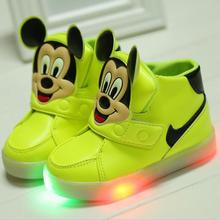 No USB charg Non slip kids sneakers cartoon baby boys girls LED luminous shoes children flash light sneakers Europe size 21-30