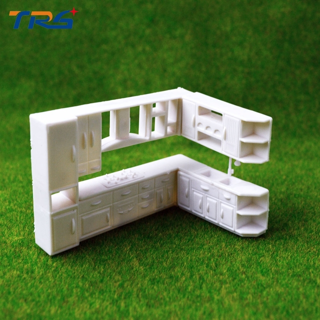 Model Kitchen 1:50 modern house inner layout scale model kitchen cabinet plastic