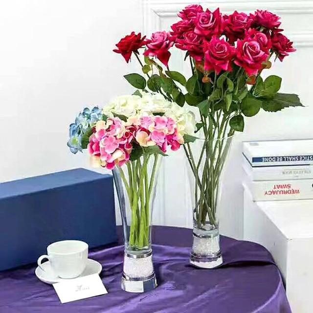 1 Pcs Big Size Crystal Flower Vase For Wedding Glass Vase For Flower