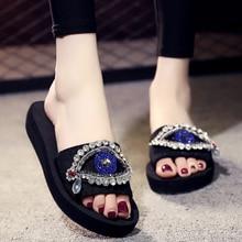 6CM/3CM Heel Height Luxury rhinestone Women Sandals Summer Comfortable Slides Handmade Slippers
