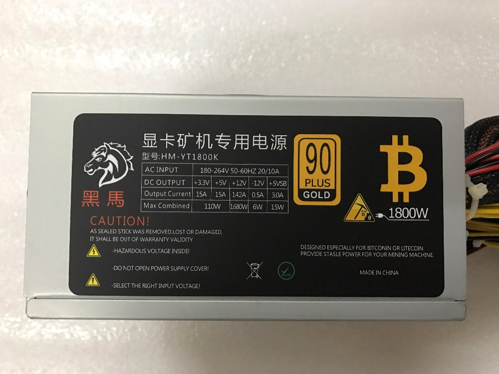 KUANGCHENG ETH ZCASH SC MINER Gold POWER 1800W BTC power supply for 1060 RX 470 570 RX480 580 for 6 8 GPU CARDS in Servers from Computer Office
