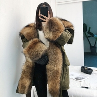 2018 real fox fur Removable collar hooded Feather liner winter jacket women parka Raccoon Dog Fur warm jackets EXX562100