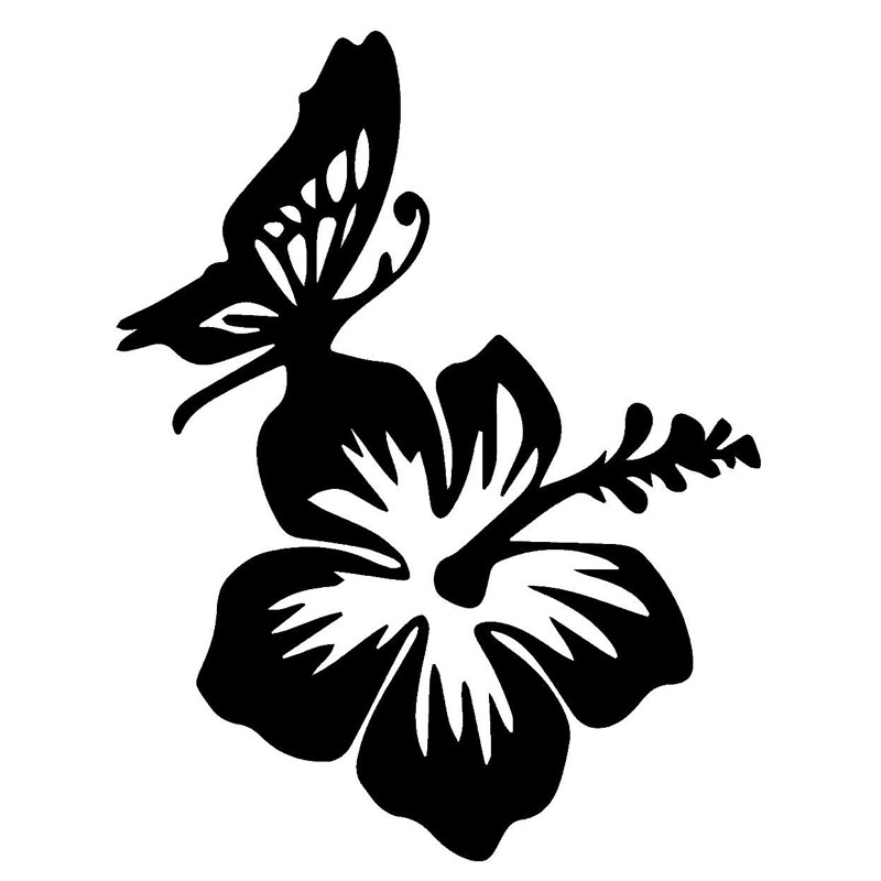 13.9*17.8CM Hibiscus And Butterfly Vinyl Car Styling Beautiful Stickers Car Body Decal Black/Silver C9-1537