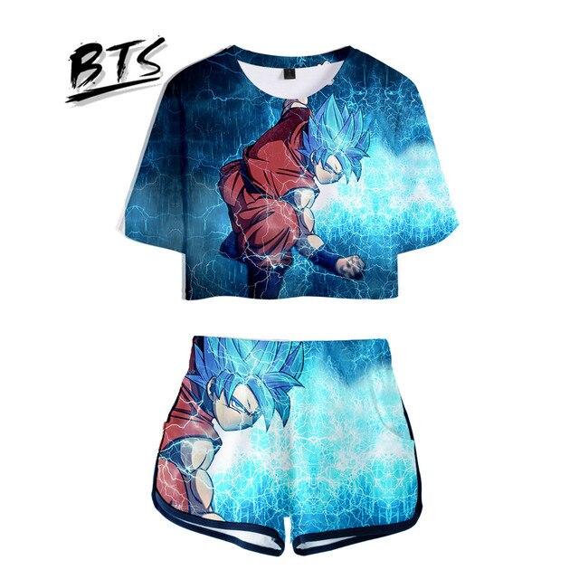 8825f4904f8231 BTS Hot Sale Casual Cool Crop Tops 3D Dragon Ball Shorts And T-shirt Men  Clothes 2018 Harajuku Hip Hop Plus Size Q1046-Q1054