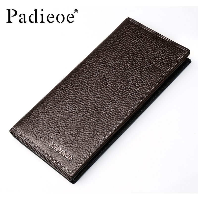 купить Padieoe Brand Men Wallets Genuine Leather Long Business Purse Slim Male Card Holder Wallet по цене 2706.3 рублей