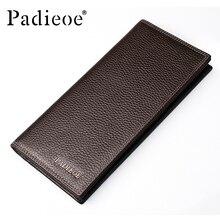Padieoe Brand Men Wallets Genuine Leather Long Business Purse Slim Male Card Holder Wallet