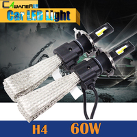 60W H4 H4 3 LED Bulb 6400LM 6500K Cool White Hi Lo Beam Car Motorcycle Headlight