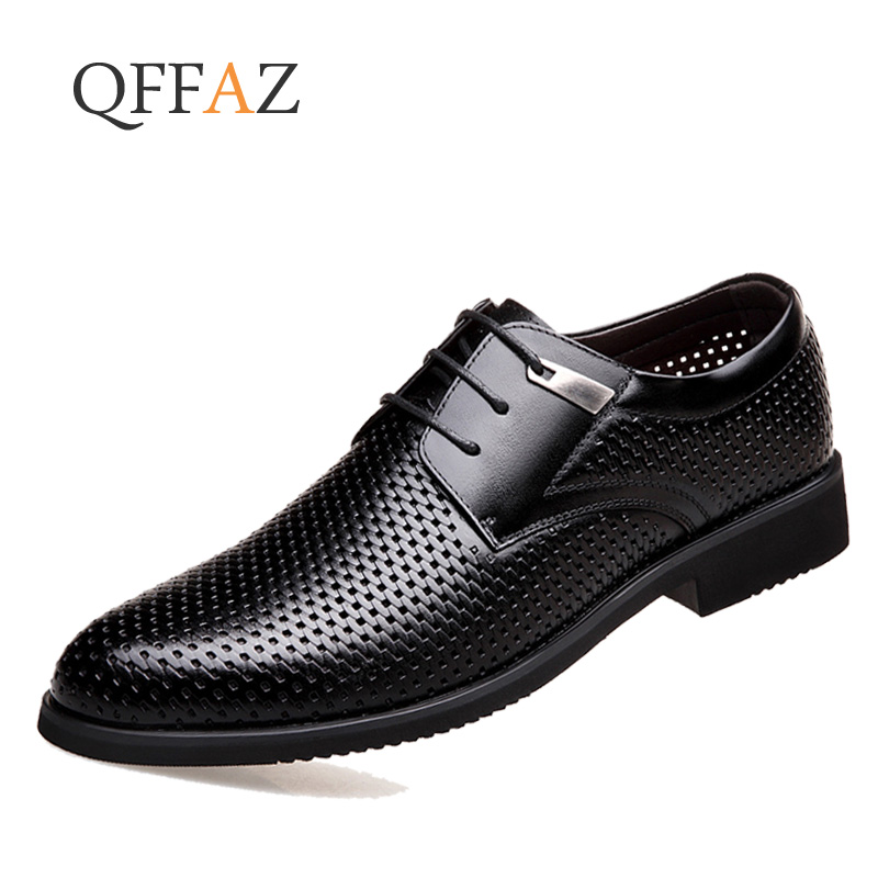 QFFAZ Men Shoes Luxury Brand Hollow Out Formal Shoes Summer Pointed Toe Business Suit Office Oxford Dress Footwear Brown Black