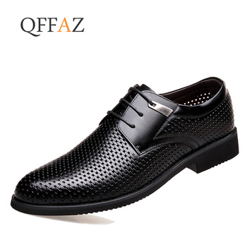 QFFAZ Men Shoes Luxury Brand Hollow Out Formal Summer Pointed Toe Business Suit Office Oxford Dress Footwear Brown Black - discount item  42% OFF Men's Shoes