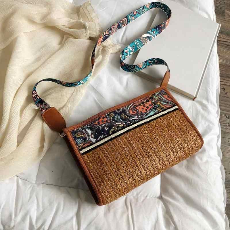 Для женщин Повседневное модные небольшой лоскут печать Винтаж соломенная шляпа для девочек, через плечо, сумка-мессенджер женские этнические летние пляжные сумки