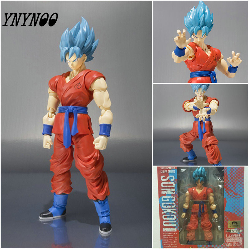 YNYNOO 18CM Dragon Ball Z Resurrection F Super Saiyan Son Goku Blue hair PVC Action Figure Model Toys Collection Kids Gifts  new goku 14cm vegeta goku trunks dragon ball z resurrection f super saiyan god comics pvc action figures toy for kids