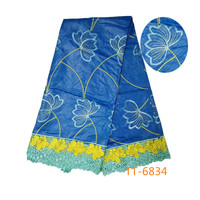 Wholesale 2017 latest best quality African Embroideredfabric bazin riche getzner fabric for Nigerian Evening dresses blue