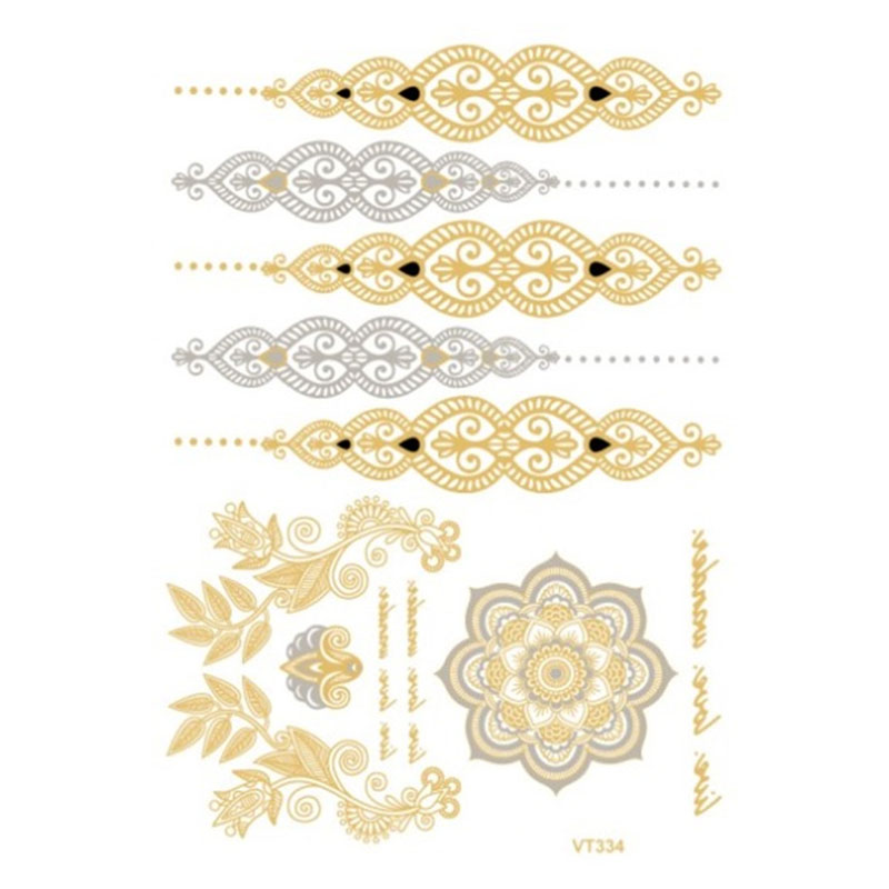 hot sell body art painting tattoo stickers Metal gold silver temporary flash tattoo 1