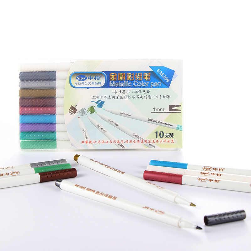 10 colores DIY acrílico marcador impermeable permanente pintor metálico Color pintura rotulador resaltador para la fabricación de tarjetas de diseño de taza