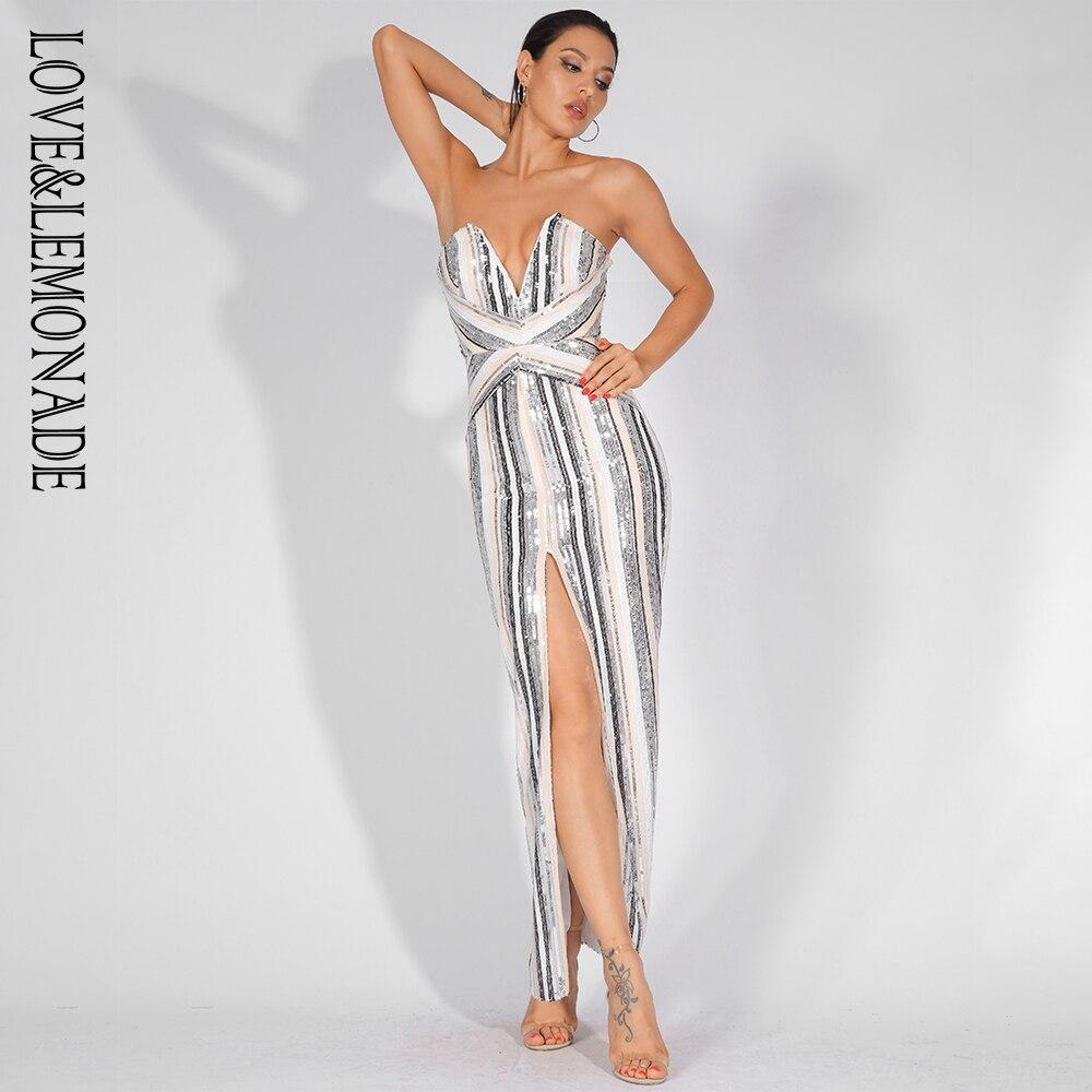 Love Lemonade Sexy V-Neck Color Striped Sequins Bodycon Long Dress LM81555 2cdb8735abfb