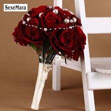 ดอกไม้ช่อดอกไม้สำหรับคู่แต่งงาน Faybox สีแดง Rose มือที่กำหนดเองทำดอกไม้ประดิษฐ์ Bouquet Rhinestone เพิร์ลเจ้าสาวจัดงานแต่งงาน