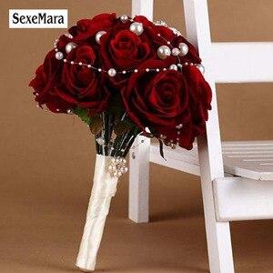Image 1 - 花ブライダルブーケ faybox 赤ローズカスタム人工結婚式のブーケラインストーンパールブライダルブーケウェディング