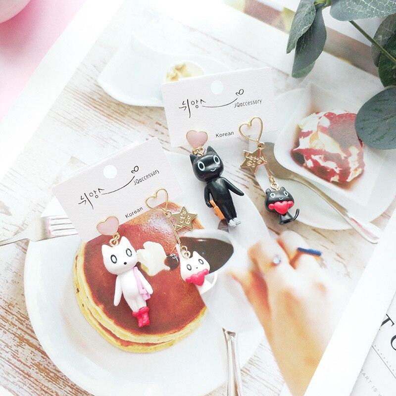 Korea Handmade Cute Cartoon Resin Cat Asymmetry Women Drop Earrings Dangle Earrings Fashion Jewelry JQD5 in Drop Earrings from Jewelry Accessories