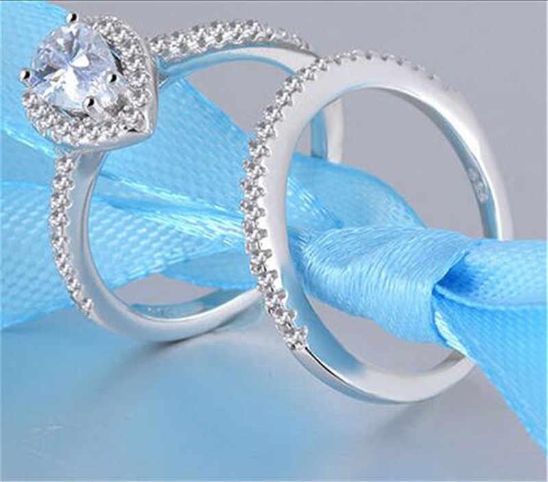 CC Đôi Cho Nữ, Nhẫn Nữ Giọt Nước Trắng/Hồng 2 Màu Sang Trọng Ringen Cưới Cô Dâu Trang Sức Đính Hôn Cincin Wanita CC775