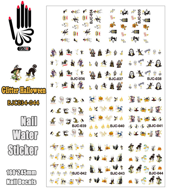 11 Sheets/Lot Nails Decal BJC034 044 Glitter Halloween Designs Nail ...