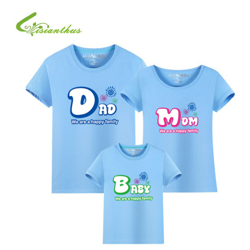 Family Look Letter Pattern T Shirts Summer Family Matching Clothes Father Mother