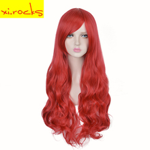 3127 X Ladys Long Curly Bright Red Synthetic hairstyle Makeup Halloween Cosplay Wigs The Little Mermaid